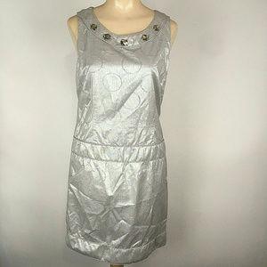 Pink Tartan Metallic Sliver Circle Shift Dress 4